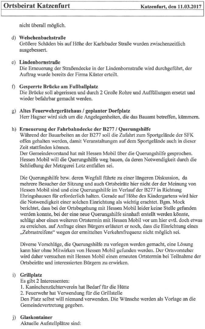 Katzenfurter Verein für Heimatgeschichte - Ortsbeirats-Sitzung am ...